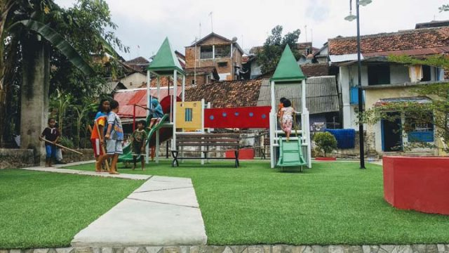 Lahan kosomg di Kelurahan Gunungsari, Kecamatan Enggal,Bandarlampung yang semula kumuh kini menjadi ruang terbuka hijau (RTH).