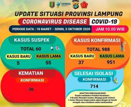Tambah 37, Pasien Covid-19 di Lampung Jadi 988 Orang