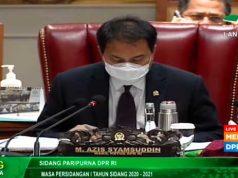 Azis Syamsudin memimpin rapat paripurna DPR RI pengesahan RUU Cipta Kerja menjadi UU Cipta Kerja, Senin (5/10/2020).