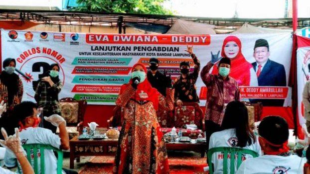Bandarlampung Zona Merah, Eva Dwiana Ajak Masyarakat Patuhi Protokol Kesehatan