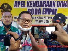 Kepala BPKA Lampung Utara, Desyadi didampingi Kepala Bidang Investasi Aset, A. Riskal Fistiawan menjelaskan hasil apel mobil dinas di hari terakhir