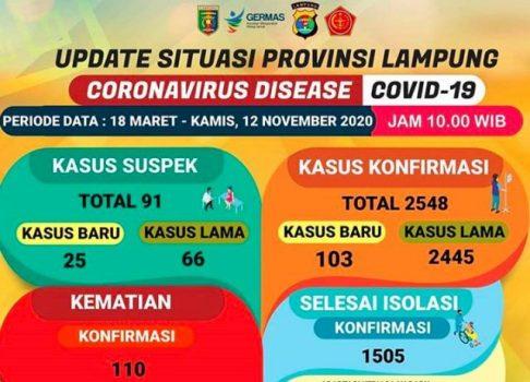 Tambah 103 Kasus, Pasien Covid-19 di Lampung Jadi 2.458 Orang