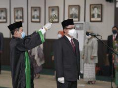 Pelantikan Sekjen Kemendes PDTT, di Jakarta, Senin (2/11/2020).