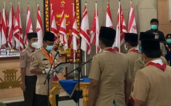 pelantikan Bupati Budi Utomo sebagai Mabicab dan para pengurus Kwarcab Pramuka Lampung Utara