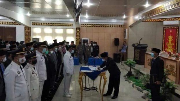 pelantikan para pejabat di lingkungan Pemkab Lampung Utara, Rabu siang (30/12/2020).