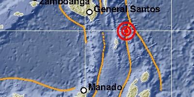 Gempa pada magnitudo 7,0 serta berada 132 km timur laut Melonguane, Sulawesi Utara terjadi pada Kamis (21/1). (BMKG)