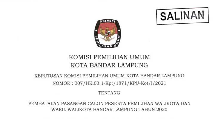 Didiskualifikasi, Kemenangan Eva Dwiana-Deddy Amarullah Dibatalkan KPU