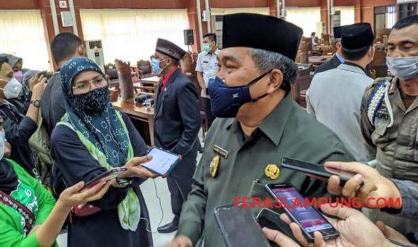 Plh Walikota Bandarlampung Badri Tamam menjelaskan rencana pelantikan walikota dan wakil walikota.