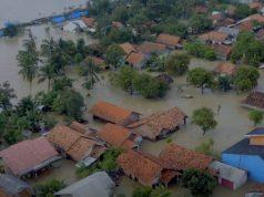 Banjir di wilayah Karawang, Jawa Barat. Foto udara ini diambil pada Senin siang (22/2/2021). Foto: BNPB