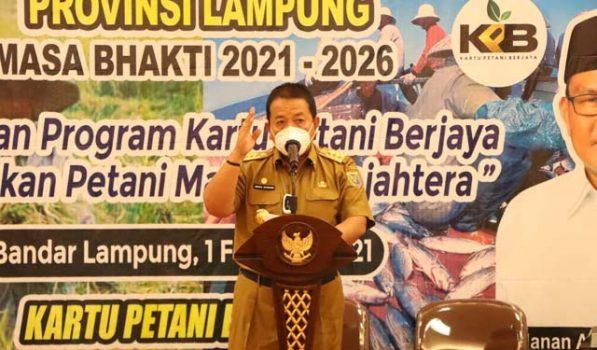 Gubernur Arinal Djunaidi pada pengukuhan pengurus KTNA Lampung 2021-2026, Senin (1/2/2021).