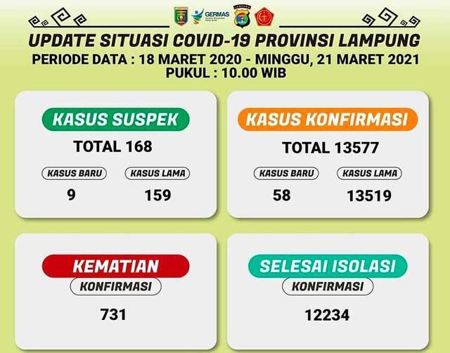 Data kasus Covid-19 di Lampung pada 21 Maret 2021. Sumber: Dinkes Lampung