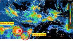 Foto citra satelit terkait perkembangan Siklon Tropis Seroja dan Pertumbuhan Siklon Tropis Odette, Jumat (9/4/2021). Sumber: BMKG
