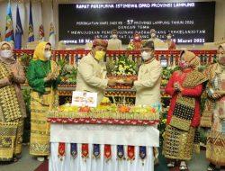 Rapat Paripurna HUT ke-57 Lampung, Mingrum Gumay Ajak Semua Pihak Bergotong Royong