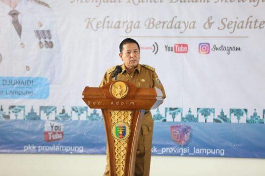 ubernur Arinal saat membuka Rapat Kerja Daerah (Rakerda) Tim Penggerak PKK Provinsi Lampung Tahun 2021 di Mahan Agung, Rumah Dinas Gubernur, Senin (31/5/2021).