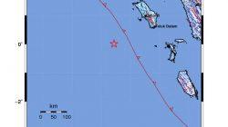 Pusat gempa ketiga yang melanda Nias Barat, Sumatera Utara pada Jumat sore (14/5/2021). Sumber: BMKG