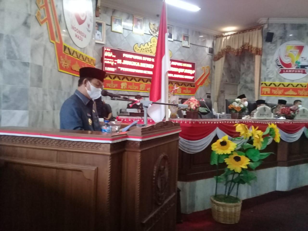 Bupati Budi Utomo dalam sidang paripurna Raperda Tentang pertanggungjawaban pelaksanaan APBD tahun 2020, Senin (7/6/2021).