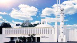 Masjid Jami' Soeprapto Soeparno di Jalan Soekarno Hatta, Beluluk, Kecamatan Pangkalan Baru, Kabupaten Bangka Tengah, Provinsi Bangka Belitung.