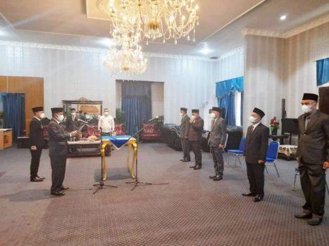 Bupati Budi Utomo melantik kelima pejabat eselon II di lingkungan Pemkab Lampung Utara, Kamis siang (14/7/2021).