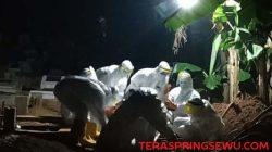 Para pengubur jenazah pasien Covid-19 sedang menjalankan tugas pada sebuah malam yang dingin dan gelap di sebuah permakaman/Foto: teraspringsewu.com