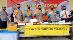 Kapolres Lampung Selatan, AKBP Edwin saat press reles ungkap kasus narkoba 16 Kg sabu dan 14 Kg ganja di Mapolres setempat, Sabtu (3/7/2021).