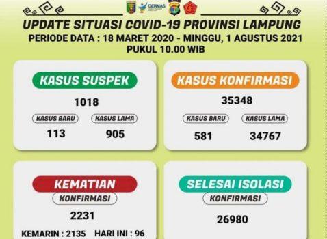 Data kasus Covid-19 di Lampung pada 1 Agustus 2021. Sumber: Dinkes Lampung