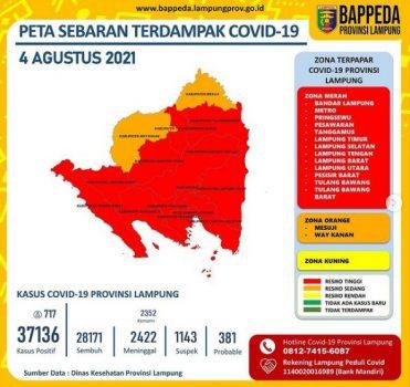 Peta sebaran Zona Merah Covid-19 di Lampung hingga 4 Agustus 2021. Sumber:Bappeda Lampung