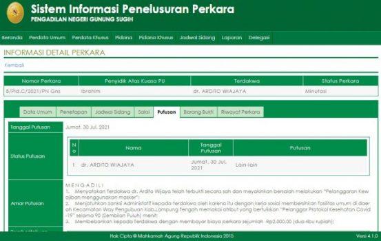 """Tangkapan layar SIIP Pengadilan Negeri (PN) Gunung Sugih, putusan perkara Wabup Lampung Tengah, Ardito Wijaya langgar Prokes """"Joget dangdut"""" diacara resepesi hajatan."""