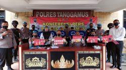 Polres Tanggamus merilis pengungkapan kasus peredaran sabu-sabu, Rabu (1/9/2021).