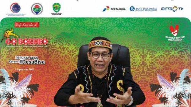 """Menteri Desa, Pembangunan Daerah Tertinggal dan Transmigrasi (Mendes PDTT) Abdul Halim Iskandar meluncurkan Gerakan Nasional Bangga Buatan Indonesia (Gernas BBI) Kalimantan Timur yang mengusung tema """"Go Borneo"""" secara virtual, Rabu (1/9/2021). Foto : Angga/KemendesPDTT"""