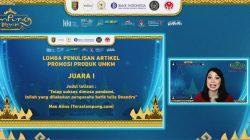 Bank Indonesia KPw Lampung mengumumkan para pemenang lomba menulis artikel Promosi Produk UMKM Lampung dalam acara Karya Kreatif Lampung (KKL), Sabtu sore (11/9/2021).