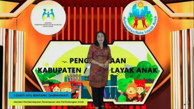 Menteri Pemberdayaan Perempuan dan Perlindungan Anak, Bintang Puspayoga dalam sambutannya pada acara Penghargaan Kabupaten Kota Layak Anak (KLA) Tahun 2021, virtual Kamis 29 Juli 2021
