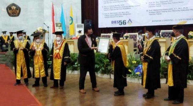 Pengukuhan 15 guru besar Unila di GSG Unila,Rabu (22/9/2021).