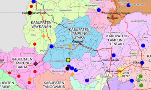 Peta Kabupaten Lampung Utara