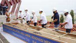 Peletakan batu pertama pembangunan Masjid BSI, Area UMKM, Renovasi Menara Siger, Creative Hub, Housing Development and Entrepreneur Center Kawasan Terintegrasi Bakauheni Harbour City (BHC) di Menara Siger, Bakauheni,Lampung Selatan, Rabu (27/10/2021