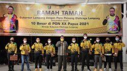 Atlet PON Lampung peraih medali emas pada PON Papua 2021 menerima bonus dari Pemprov Lampung, Rabu malam (21/10/2021).