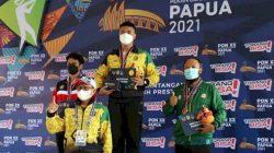 Wira Sukmana meraih medali emas di cabang menembak nomor individual 50m air pistol putra PON XX Papua, Selasa siang (5/10/2021). Foto: Humas KONI
