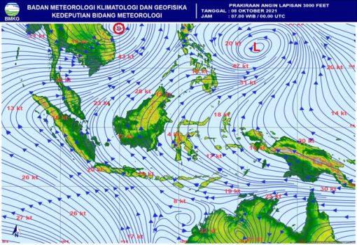 Prakiraan angin di Indonesia pada Jumat, 8 Oktober 2021. (Sumber BMKG(